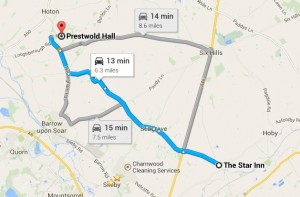 map of prestwold hall to star inn thrussington